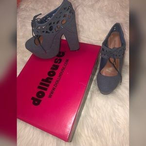 DOLLHOUSE Blue Denim CutOut Heels